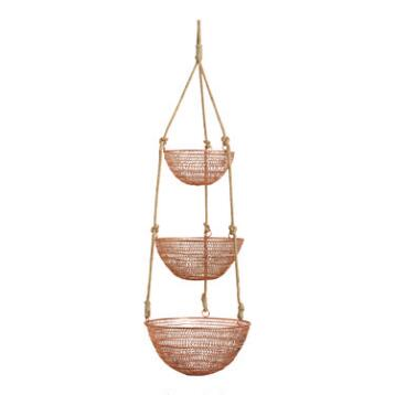 Copper and Rope 3-Tier Hanging Basket